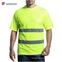 Camiseta de seguridad de alta visibilidad reflectante 3M de mangas cortas 3M Camiseta de alta visibilidad ANSI 107 clase 2 de alta visibilidad con bolsillo de neón amarillo