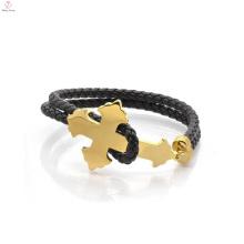 Jóia de couro do bracelete do ouro dos homens de aço inoxidável da forma personalizada