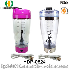 USB Charge Plastic Portable Vortex Bottle, 450ml Plastic Electric Protein Shaker Bottle (HDP-0824)