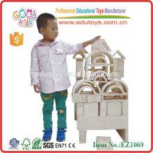 Natural y jumbo edificio 58PCS bloques huecos de madera de los juguetes