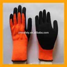 10 Gauge Orange Brushed Terry Loops Guantes recubiertos de acrílico forrado de látex de invierno