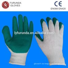 Grüne Latex-Palme beschichtete, gebleichte, weiße Baumwoll-Strick-Strickhandschuhe