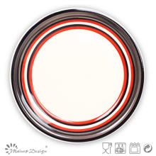 Plato de cena de gres redondo pintado a mano