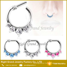 Unique Zircon Clicker Nose Ring Customized Piercing For Septum