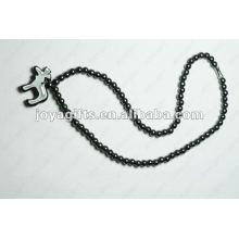 Collier à perles ovales magnétiques avec hématite