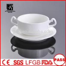 Fábrica de porcelana P & T, copos de sopa por atacado com pires, tigela de sopa de porcelana