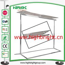 Support de Rail vêtement pliable en acier inoxydable avec plateau en verre de trempe