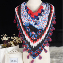 2016 Fashion printed triangle scarf polyester with tassels