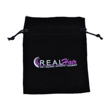 Black cotton bag with white pink logo