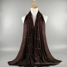 El precio al por mayor de la fábrica de la manera de la calidad de las mujeres bufanda del mantón del jersey musulmán de la perla del jersey