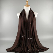 Atacado moda qualidade preço de fábrica mulheres xale cachecol jersey muçulmano pérola hijab