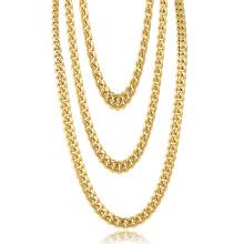 Collar de cadena de oro del Hip Hop de la fábrica de la joyería del acero inoxidable de 22 pulgadas