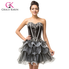 Grace Karin New Arrival Strapless Sweetheart Neckline Short Organza Black Cocktail Dress 2015 CL007587-1