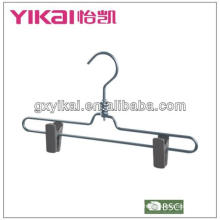 Aluminum skirt hanger with plastic clips and swivel hook