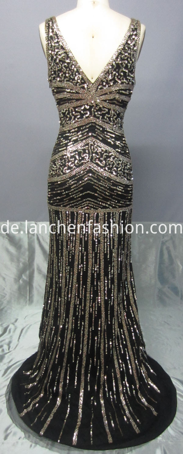 V Neck Beaded Prom Dress