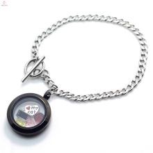 Vintage Edelstahl schlicht Silber Kette schwarz Medaillon Armband Schmuck