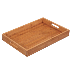 Wooden serving tray cutlery box with handle