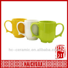Ceramic two handle coffee mug, double handle ceramic mug