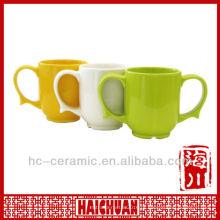 Caneca de café cerâmica de duas alças, caneca de cerâmica