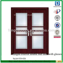 fangda exterior double mdf door with glasses