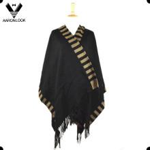 2016 alta qualidade moda tecida poncho com franjas