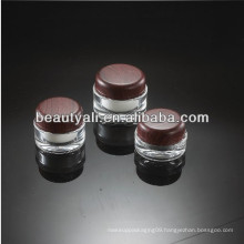 15ml 30ml 50ml 100ml Grass Pattern Round Wooden Cap Acrylic Jars