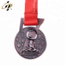 Shuanghua personalizado medalla de ejecución de deportes de bronce 3d de metal