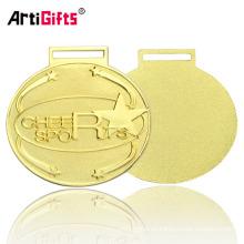 Chapado en oro oval felicitar medallas de Navidad para niños
