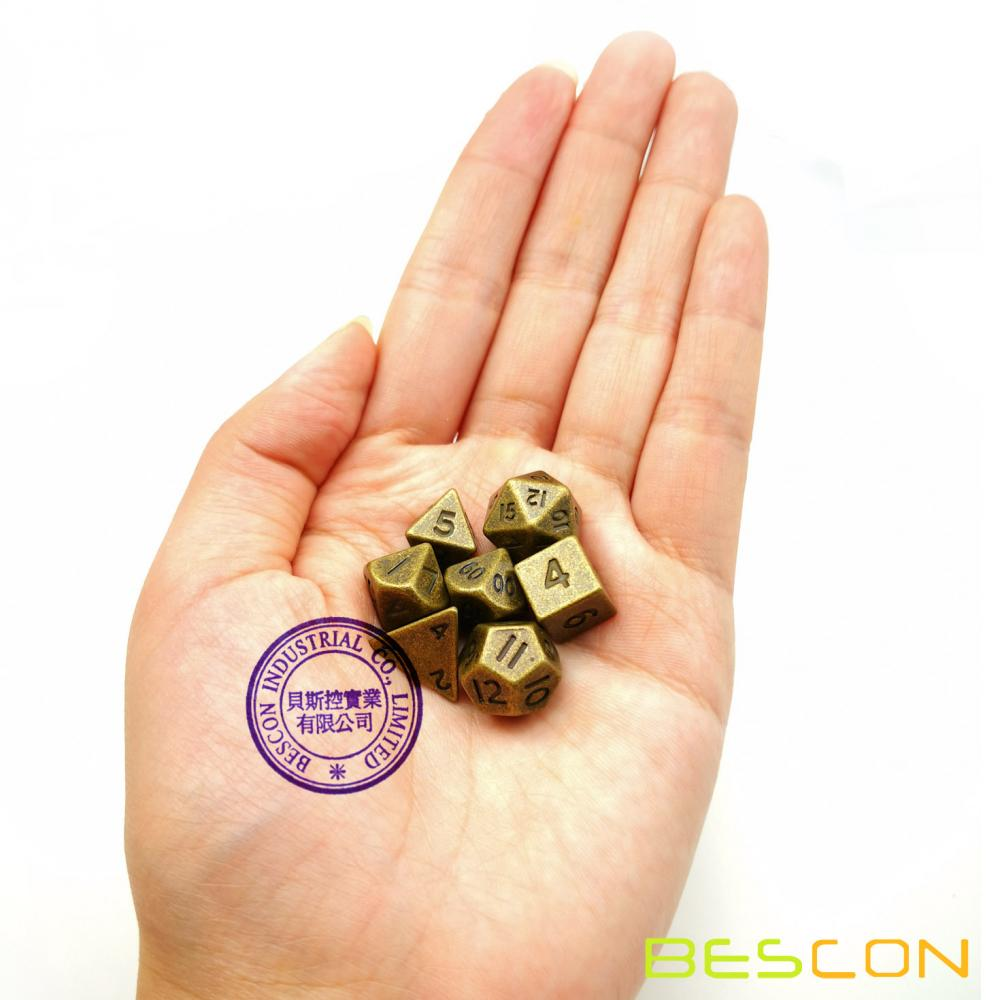 Bescon 10MM Mini Solid Metal Dice Set Ancient Brass, Mini Metallic Polyhedral D&D RPG Miniature Dice 7-sets