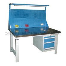 Ferramentas de aço gavetas mesa de trabalho mesa de trabalho com ferramentas parede e luz
