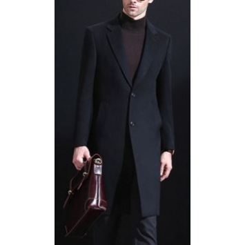 Men's pure cashmere knee length overcoat