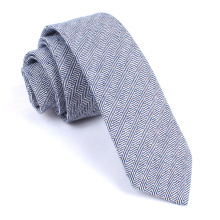Blue Navy Herringbone Mens Skinny Silk Linen Tie