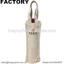 white cotton canvas drawstring wine bag with thick rope