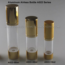 15ml 30ml 50ml Airless botella de aluminio con Base de oro