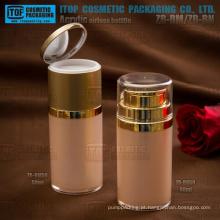 Inovadora qualidade original e interessante rodada 50ml camadas dobro frasco plástico sem ar embalagens de cosméticos