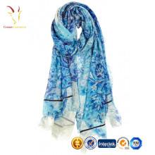 Dernière conception dames écharpe en soie fleur imprimée pashmina écharpe châle