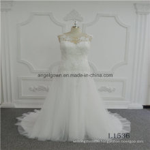 Ivory Tulle New Design Lace Sleeveless Wedding Dress