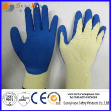 Crinkle finish latex dipped cotton work gloves