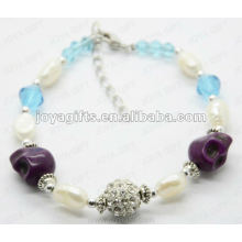 Fashion 2012 Joya Purple Skull Beaded Anklet