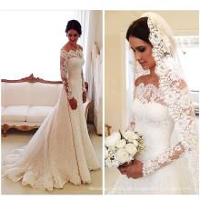 Heißer Verkauf weg vom Schulter-langen Hülsen-Spitze-Hochzeits-Kleid