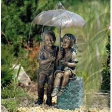 Новый дизайн высокое качество Открытый мальчик и девочка фонтан (Custimized услуги)