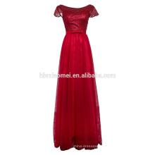 Bowknot ist lange Spitze Brautkleider Netzgarn mit kurzen Ärmeln Perlen Abendkleid Spitzenkleid Stoff Hochzeit