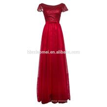 Bowknot é longo vestidos de noiva de renda net fio com mangas curtas frisado vestido de noite vestido de renda tecido de casamento
