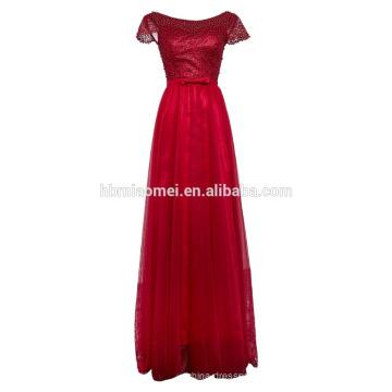 Bowknot es largos vestidos de novia de encaje con hilo de manga corta con cuentas vestido de noche de tela de encaje vestido de boda