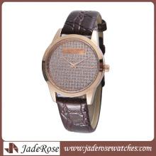 Heiße Mode-Legierungs-Uhr mit echter Lederuhr