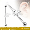 316L Surgical Steel Triple Star Industrial Barbell Earring
