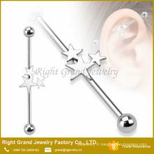 Boucle d'oreille chirurgicaux en acier Triple étoile Barbell industriel inox 316L