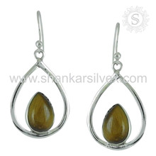 Stylish tiger eye gemstone silver earring jewelry 925 sterling silver earrings jewellery supplier