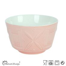 Tazón de cerámica de 14 cm en relieve Diseño de dos tonos