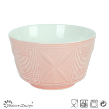 14cm Ceramic Bowl Embossed Design Two Tone